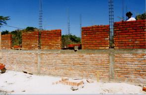 walls built with burnt clay bricks